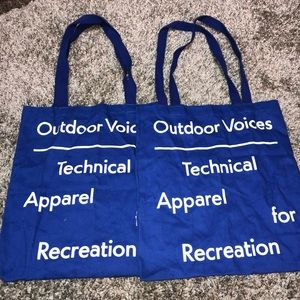 Lot of 2 OUTDOOR VOICES Blue White Canvas Bag